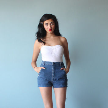 high waist denim shorts / calvin klein high waisted shorts / small - medium
