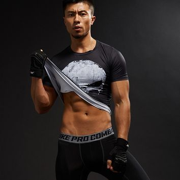 Movie Punisher 3D T Shirt Cosplay Men  Summer Male Crossfit Tops Print  Skull tshirt Men Fitness Compression Shirt Tees