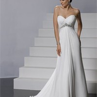 Feminine Sweetheart Neckline Empire Waist Chiffon Column Small Train Wedding Dress WD1954