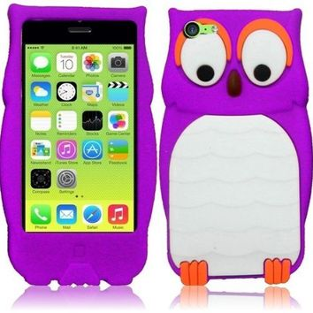 CY 3D Cartoon Cute Animal Design Silicone Skin Cover Case For iPhone Lite 5C (include a Free CYstore Stylus Pen) - Owl Purple