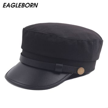 EAGLEBORN Brand Men Women Casual Captain Hat Spring Navy Cap Cotton Military Cap Baseball Drop Student Retro caps