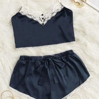 Lace Trim Satin Cami Top With Shorts