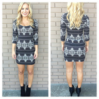 Grey Aztec Knit Crew Neck Dress