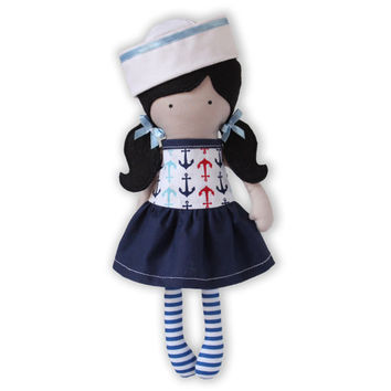 Handmade Girl Cloth Doll Rag Doll 12 inch Sailor Girl My Fashion Doll Soft Dress Up Doll Holiday Anchors Riley Blake designed fabric