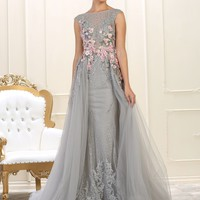Prom Silver Dress Formal Plus Size Evening  Couture Long Ball Gown