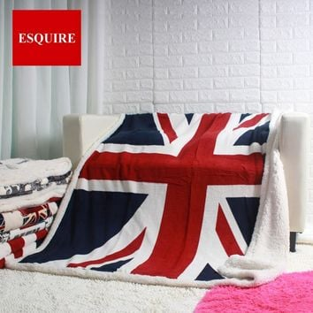 Double layer thick England UK flag pattern sherpa plush throw blanket 130x160cm