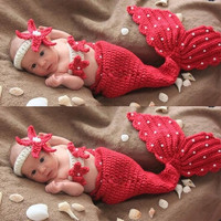 Lovely Newborn Baby Photography Props Infant Animal Knitting Crochet Costume Baby Soft Adorable Pearl Mermaid Modeling Clothes Suit (Fit 0-9Months) (Color: Red) = 1843097284