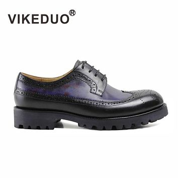Vikeduo 2017 Handmade Hot Sales Luxury Fashion Party Dress Casual Genuine Leather Leisure Lace-up Men's Derby Shoes For Male