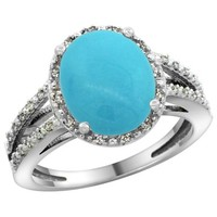 Sterling Silver Diamond Halo Sleeping Beauty Turquoise Ring Oval 11x9mm, 7/16 inch wide, size 5
