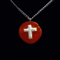 Orange and White Cross Necklace - clay, circle, circular, shiny, shinning, glossy, cross, aluminum, unique, original, ooak, christian, holy