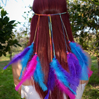 Colorful Feather Headband #B1018