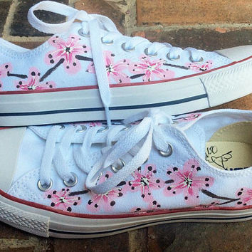 Converse Low Top, Handpainted Shoes, Cherry Blossom Chucks, Japanese Flower Flats, Bridal Tennis Shoes, Wedding Party Casual Footwear, Bride