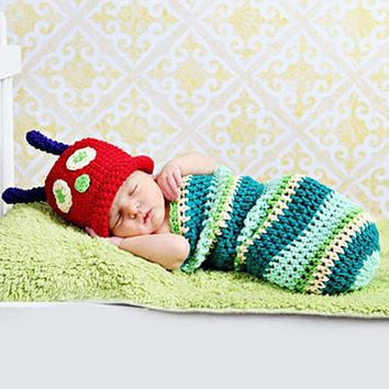 Baby Newborn Photography Photo Props Accessories Boy Girl Cute Caterpillar Photography Suit Infant Knit Outfit