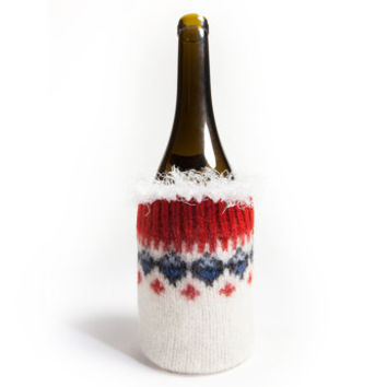 Wool Wine Bottle Cozy - Nordic style white, red and blue with white snowflake trim