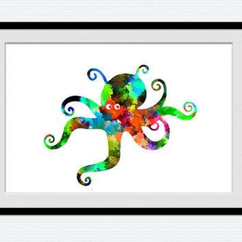 Octopus watercolor print Octopus colorful poster Nautical Wall decoration Nursery decor Kids room Octopus art Sea ornament  W35