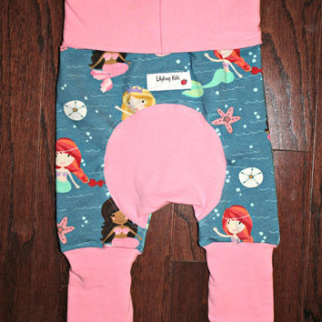 Mermaid Maxaloone shorts Size 1 fits 6 months to 3 years, Shortiloones with pink bands and bum circle, bum circle pants, grow with me pants