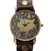 Raised Numbers Gold Tone Brown Watch