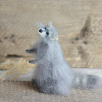 Knitted raccoon toy gift Animal Soft Sculpture Handmade stuffed animals