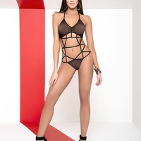 Black Bodysuit With Sheer Mesh Design Stripper Outfits