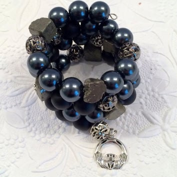 Black Hematite, Pyrite Wire-Wrap Bead Bracelet with Silver Claddaugh Charm