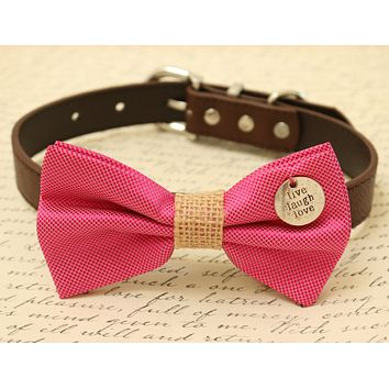 Hot Pink Dog Bow Tie attached to collar, Pet wedding, gift