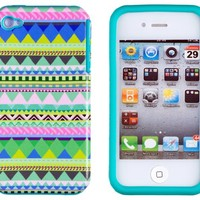 DandyCase 2in1 Hybrid High Impact Hard Mint Green & Pink Aztec Tribal Pattern + Teal Silicone Case Cover For Apple iPhone 4S & iPhone 4 + DandyCase Screen Cleaner