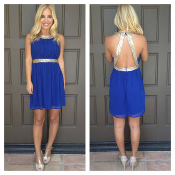 Queen Of The Party Sequin Dress- ROYAL BLUE