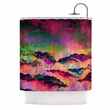 "Ebi Emporium ""It's A Rose Colored Life 3"" Magenta Orange Shower Curtain"