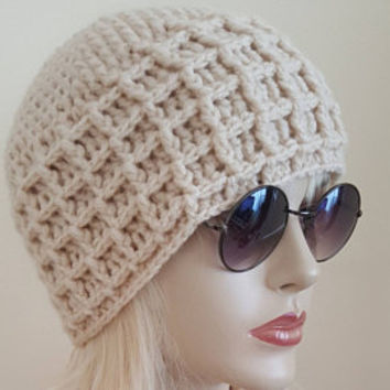 Womens Knit Beanie Handknit Hat,Knitted Hat ,Winter Knit Beanie,Slouchy Beanie Cable Hat ,Button Hat