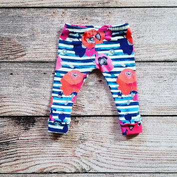 Baby leggings / toddler leggings / girls leggings / floral leggings / stripe leggings / birthday leggings / kid leggings