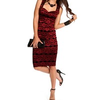 Pre-Order: Black/Red Sleeveless Lace Midi Dress