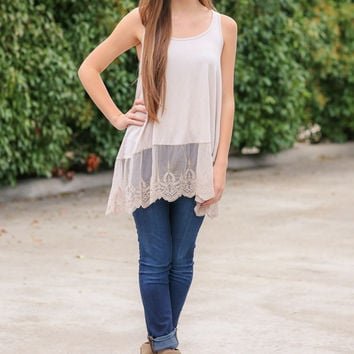 Tunic Extender Layer Tank - Cream