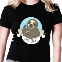 Be Patience Cute Sloth TV Womens T Shirts Black And White