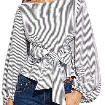 Lauren Lane Pinstripe Top