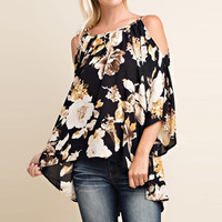 Women's Cold Shoulder Black/Yellow Floral Flowey Bell Sleeve Top