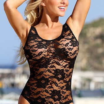 UjENA New 2015 Collection Sheer French Lace W107 Scoop neckline Wide straps Low cut legs One Pieces Swimwear Women's Swimsuit