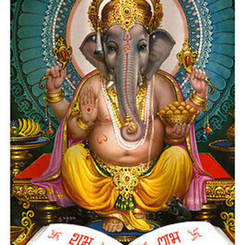 LORD GANESHA hindu deity poster elephant god of LETTERS LEARNING ornate 24X36