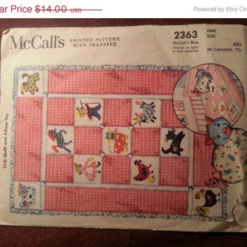 Cut/Uncut 1950's McCall's Sewing pattern, 2363! Home Decor/Nursery Decor/Baby Crib Quilt & Pillow Toys/Transfer Patterns/Stuffed Pig Toys