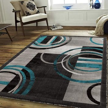 2102 Turquoise Circles Abstract Contemporary Area Rugs