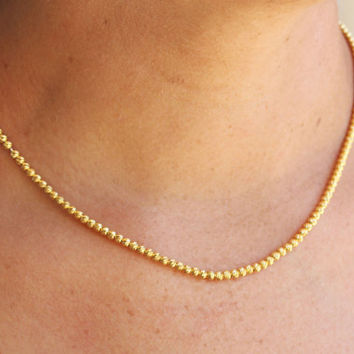 14K Gold Necklace / Tiny Bead Gold Necklace / Handmade Gold Necklace / Yellow Gold Necklace / Gold Plated Seed Bead / Dainty Gold Jewelry