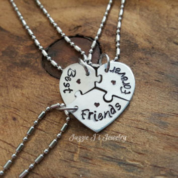 Best Friends Forever 3 Piece Puzzle Necklace Set Three