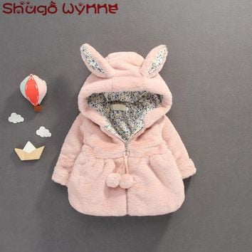 Winter Baby Girls Faux Fur Fleece Long Sleeve Hooded Thick Warm Princess Party Jacket Coat Kids Outerwear Infant Parkas
