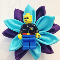 Royal Purple and Turquoise Lego Guy Boutonniere Wedding boutonniere Ring Bearer boutonniere Groom boutonniere