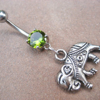 Elephant Belly Button Ring Emerald Green Gem by Azeetadesigns