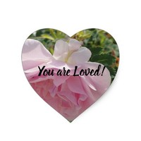 You are Loved Pink Rose Heart Sticker
