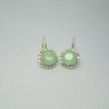 Swarovski crystal earrings, 12mm square cushion cut AB halo drops, BRIDAL, BRIDESMAID, crystolite opal, classy, exquisite