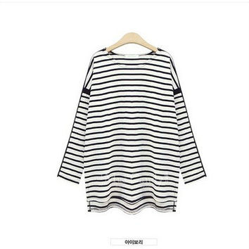 Stylish Plus Size Women's Fashion Stripes Batwing Sleeve T-shirts [6338910913]