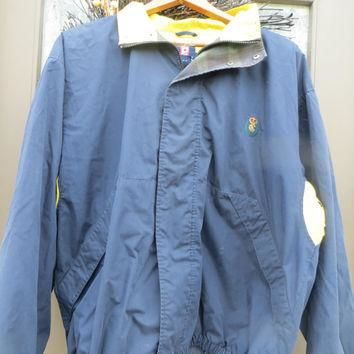 Vtg RALPH LAUREN Chaps zip up Windbreaker Jacket Mens Color Block Navy and yellow si