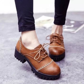 Summer England Style Vintage Round Toe With Heel Korean Shoes [6366208580]