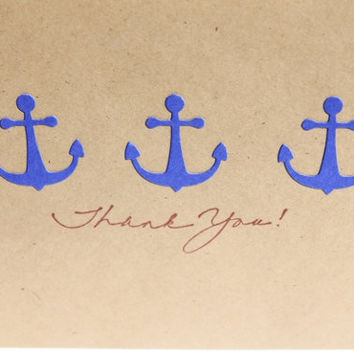 Nautical Thank You Cards Anchors by RoyalRegards on Etsy
